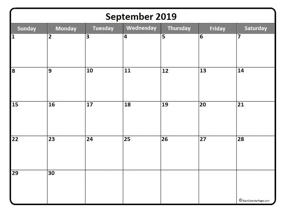 September 2019 Printable Calendar Template Word PDF 2019 Calendar