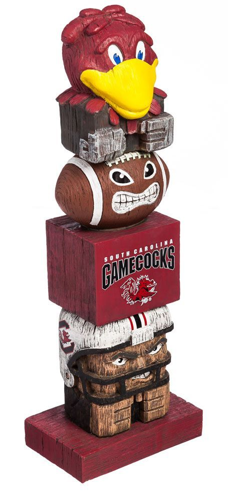 Your passion for your team won't go unnotcied with the Evergreen® South Carolina Gamecocks Tiki Totem. Tiki Totem Team totem with team graphics Made of handpainted polystone Safe for indoor and outdoor use Additional Details Measures: 16in tall Officially licensed collegiate product