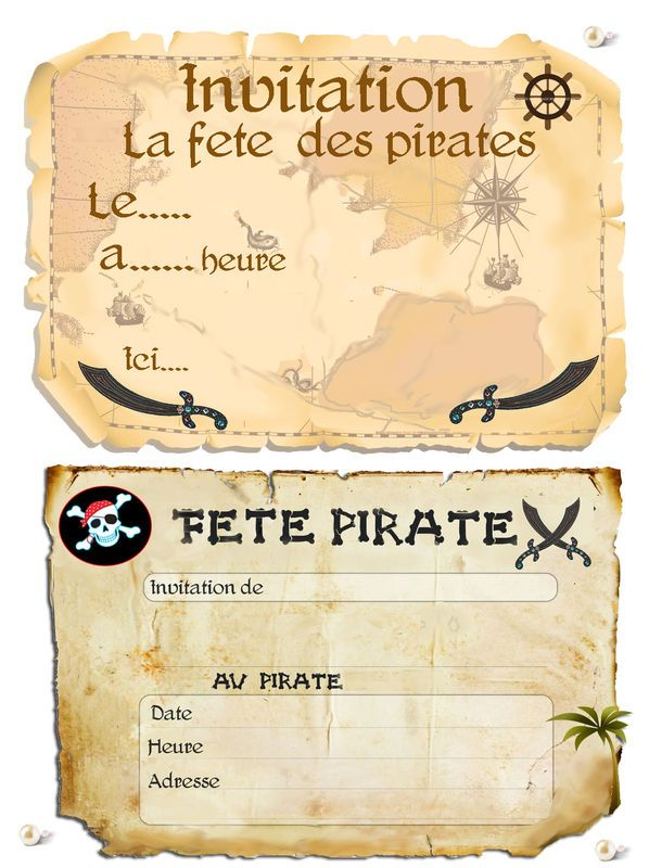Theme les pirates 1 et 2 et 3 doudous patrons patterns gabarits fete a themes pour - Invitation anniversaire garcon pirate ...