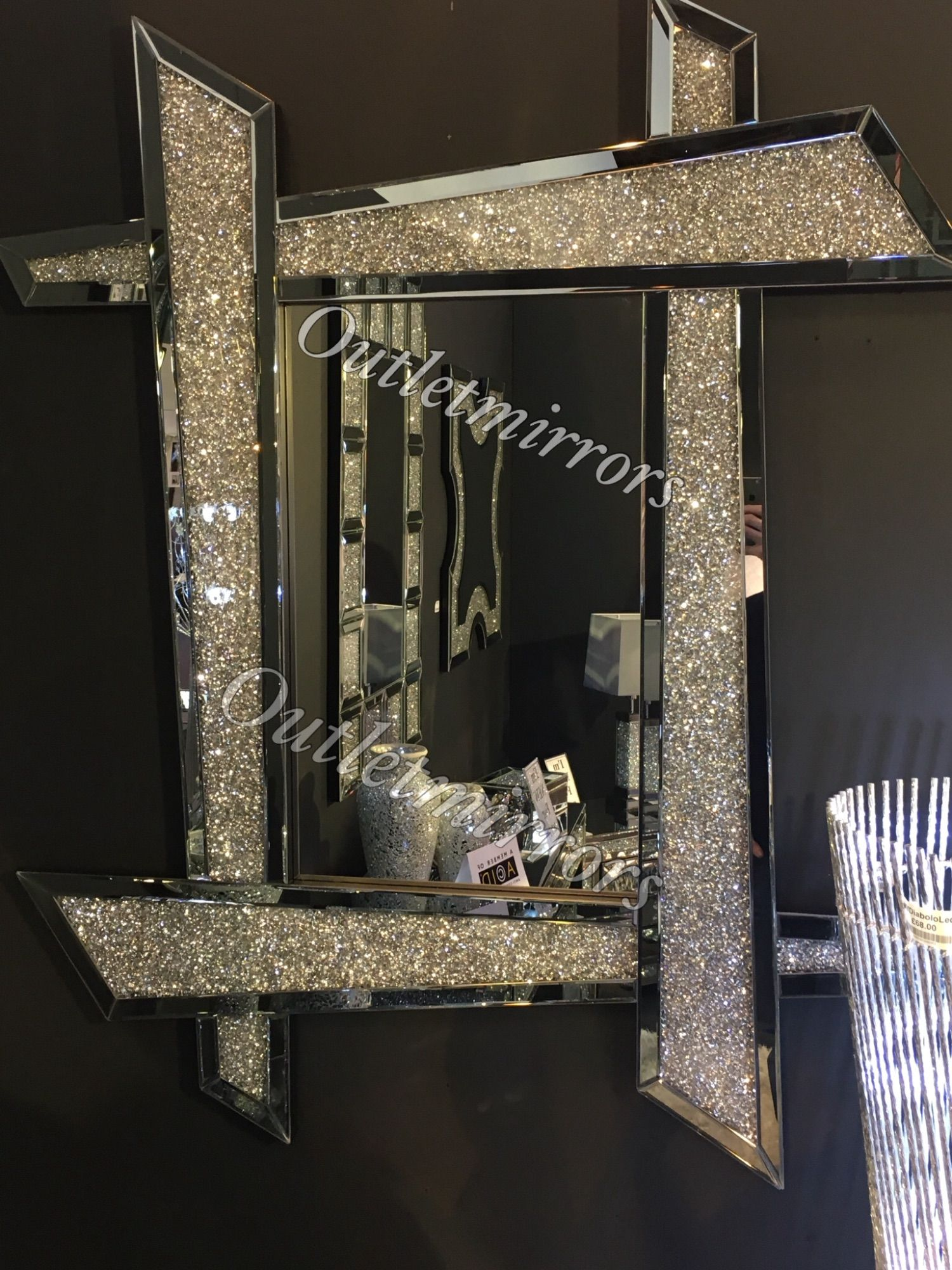 Diamond Crush Sparkle Oval Wall Mirror Item In Stock In