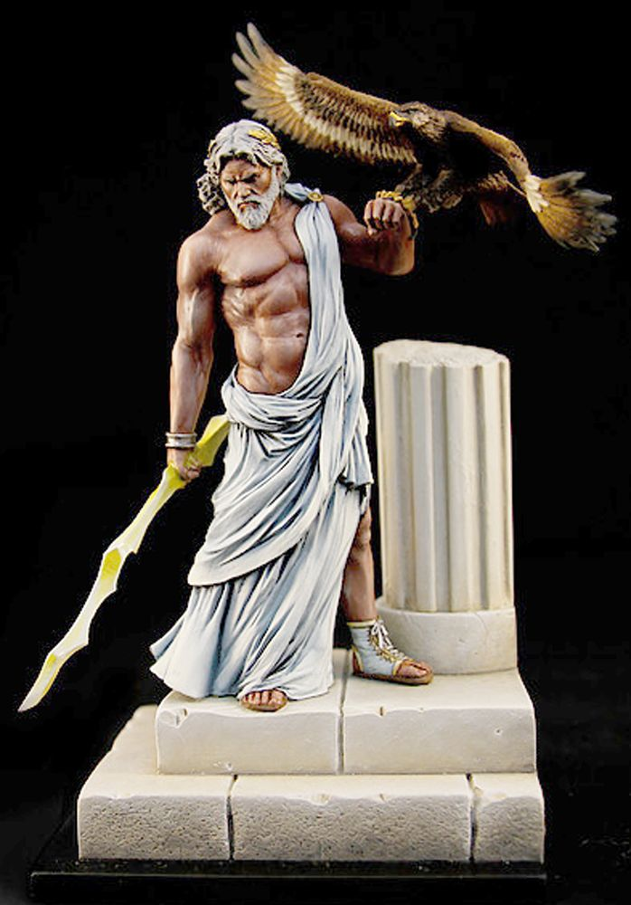 Zeus With Lightning Bolt And Hawk Painted Lead Miniature Paintedledminiature Paintedminiature Lightningbolt Paintedleadfigure Mythology