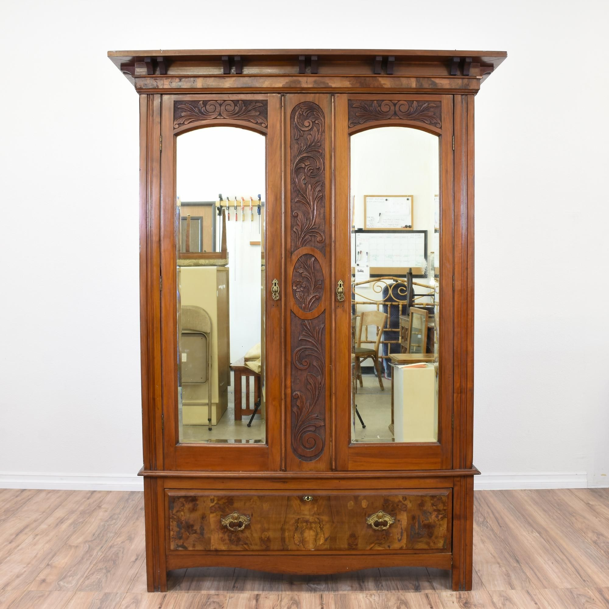 carved antique art nouveau burl wood armoire large wardrobes. Black Bedroom Furniture Sets. Home Design Ideas