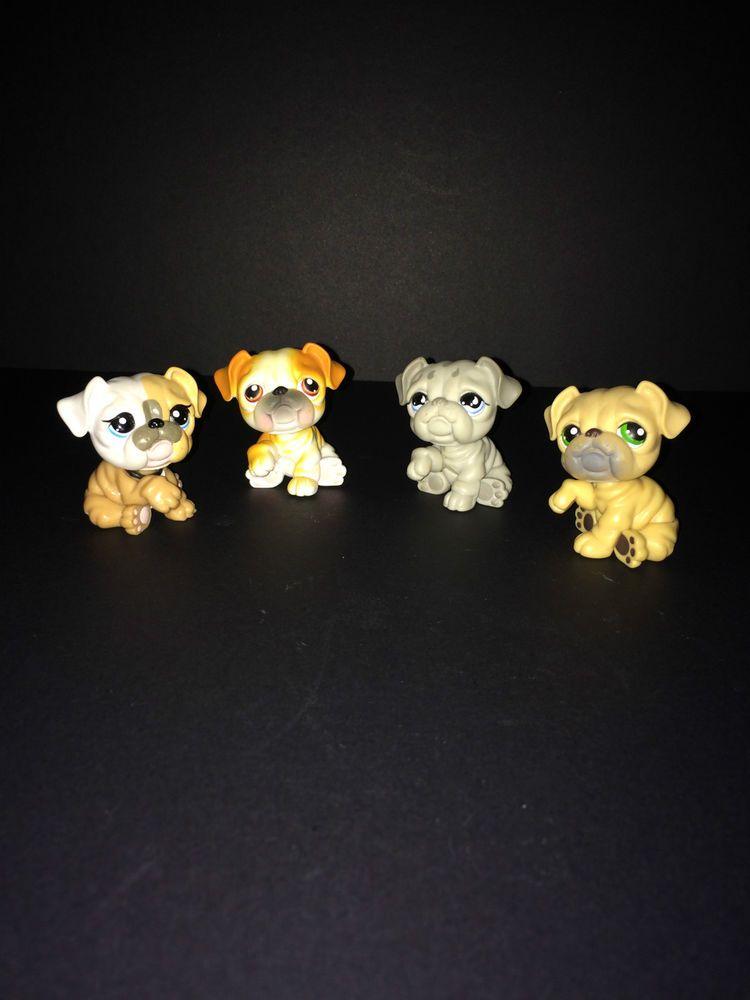 Littlest Pet Shop LPS Bulldog Family Lot of 4 Bulldog Pets