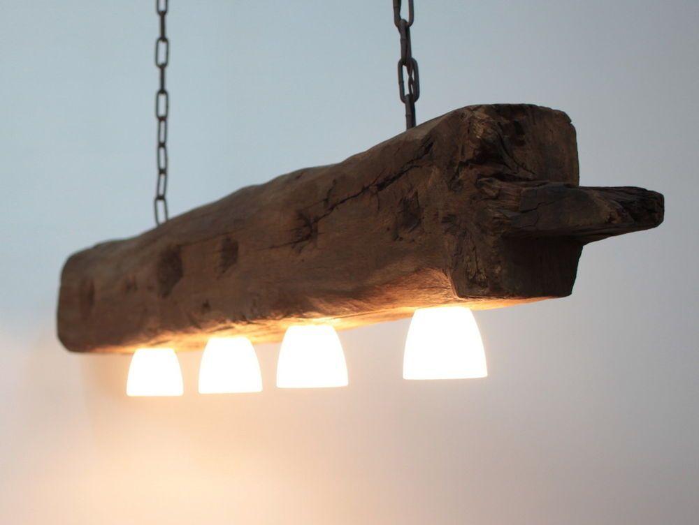 Hangelampe Deckenlampe Lampe Rustikal Holz Holzbalken Led Vintage Shabby Lampe Holz Led Deckenlampe Altholz Lampe