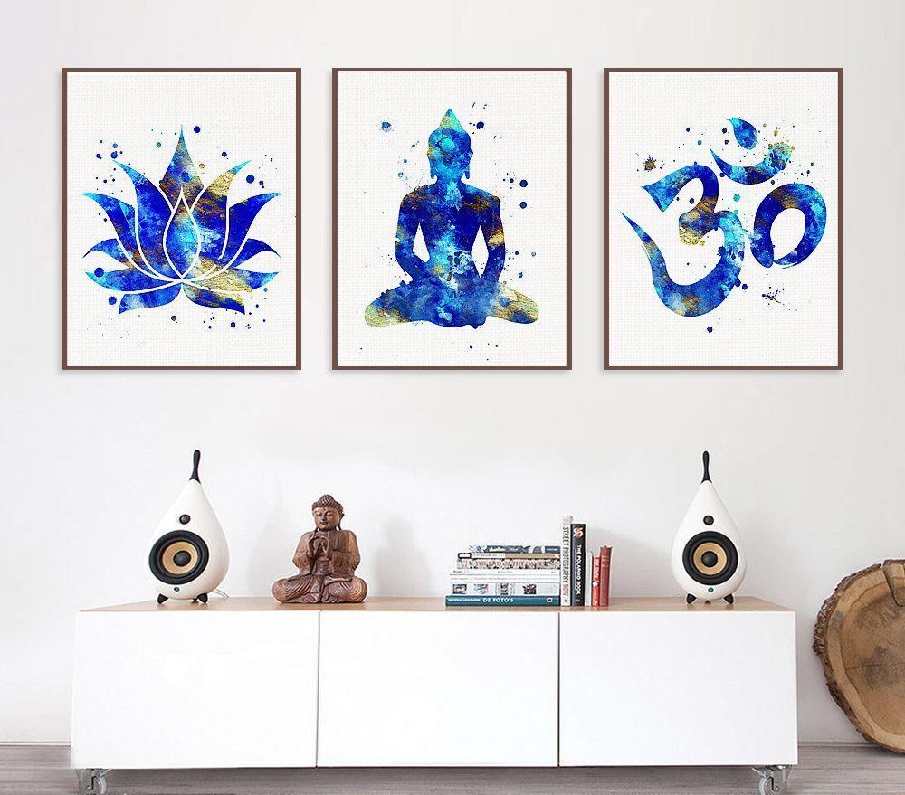 Set Of 3 Prints Lotus Buddha Om Symbol Yoga By Miaomiaodesign Yoga