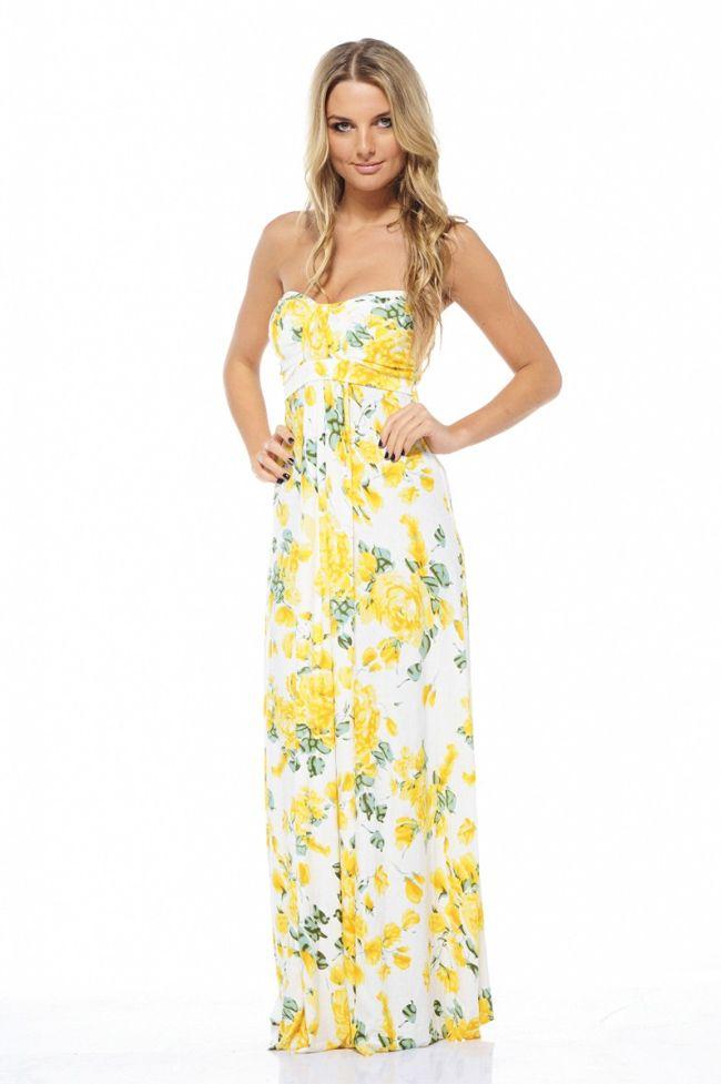 Yellow Summer Maxi Dresses for Girls