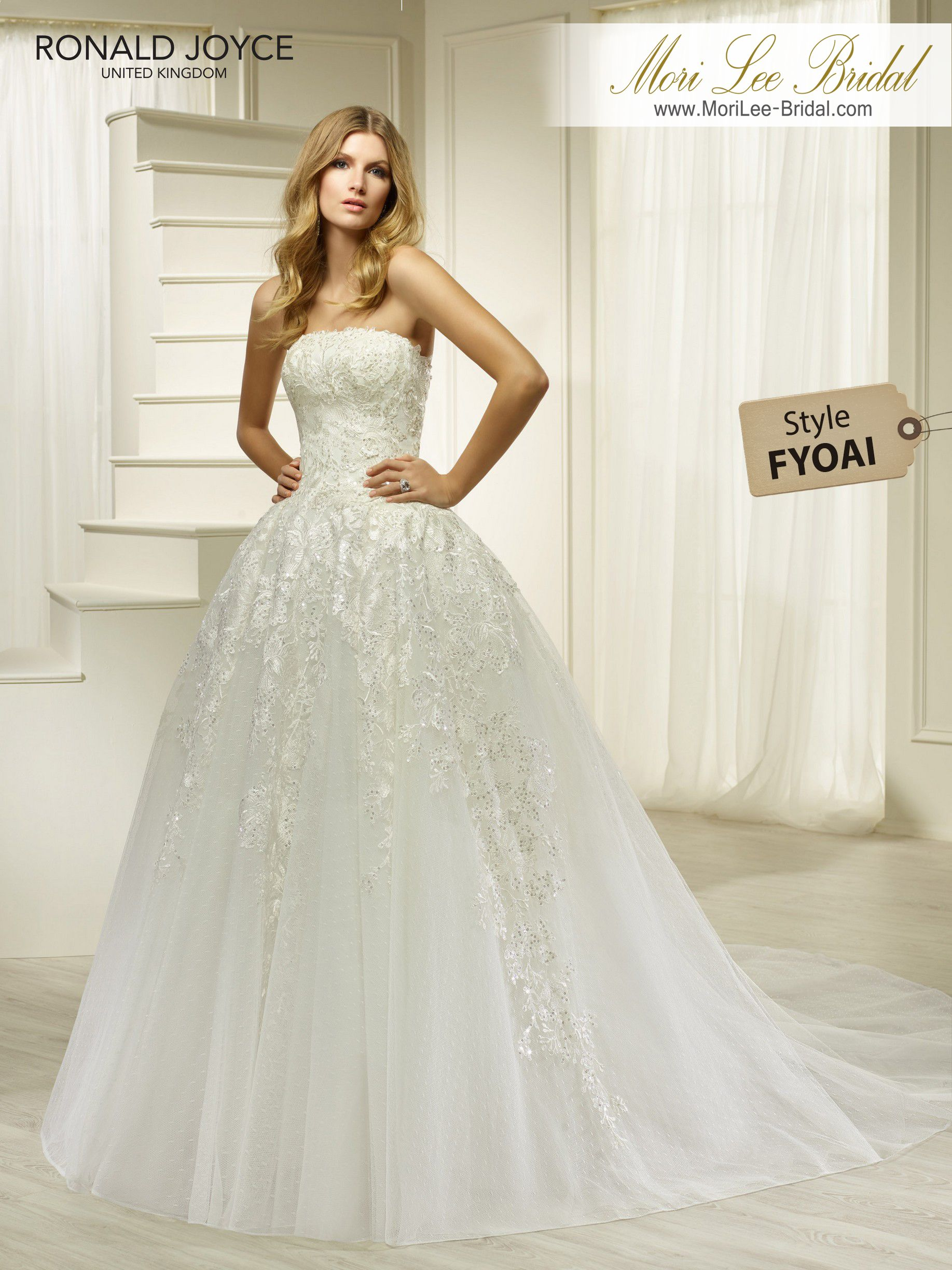 Back detail wedding dress  Style FYOAI HONESTYA STRAPLESS TULLE AND ORGANZA BALL GOWN WITH LACE
