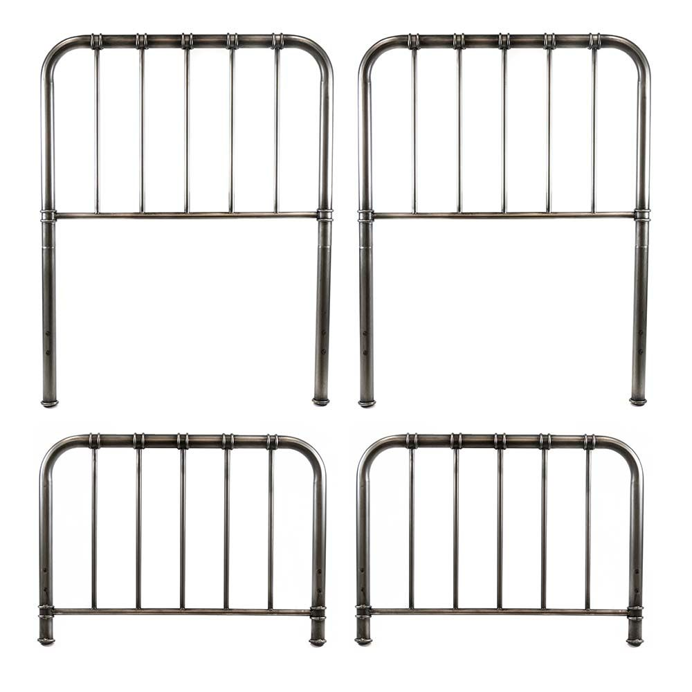 Pair Of Twin Beds Have Metal Headboards And Footboards With A