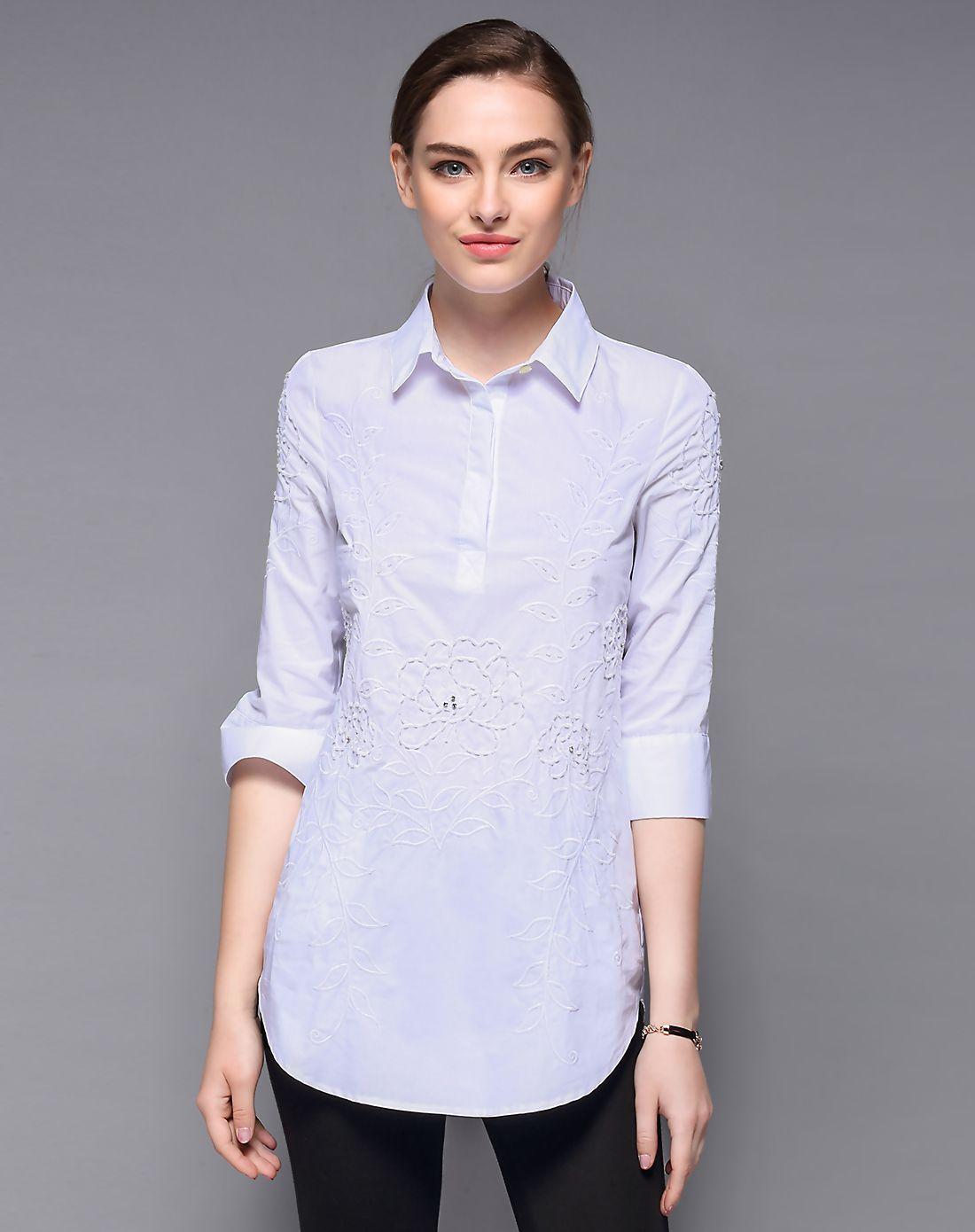 #AdoreWe #VIPme Designer Blouses & Shirts - Designer DAIPYA White Beaded Half Sleeve Cotton Long Shirt - AdoreWe.com