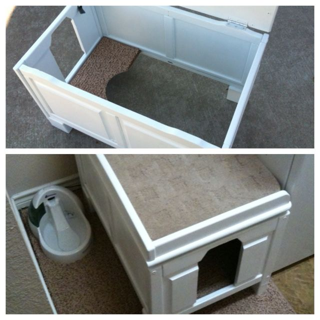 My Diy Cat Litter Box Cover I Took An Old Wooden Toy Box I Found On Craigslist Add Some Wooden Blocks To The Le Litter Box Covers Diy Stuffed Animals Cat