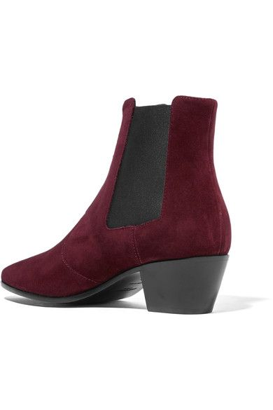 2dbfce79425e Heel measures approximately 40mm  1.5 inches Burgundy suede Pull on Made in  Italy
