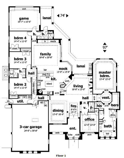 One story 4 bed gameroom and office house plans for One story house plans with bonus room