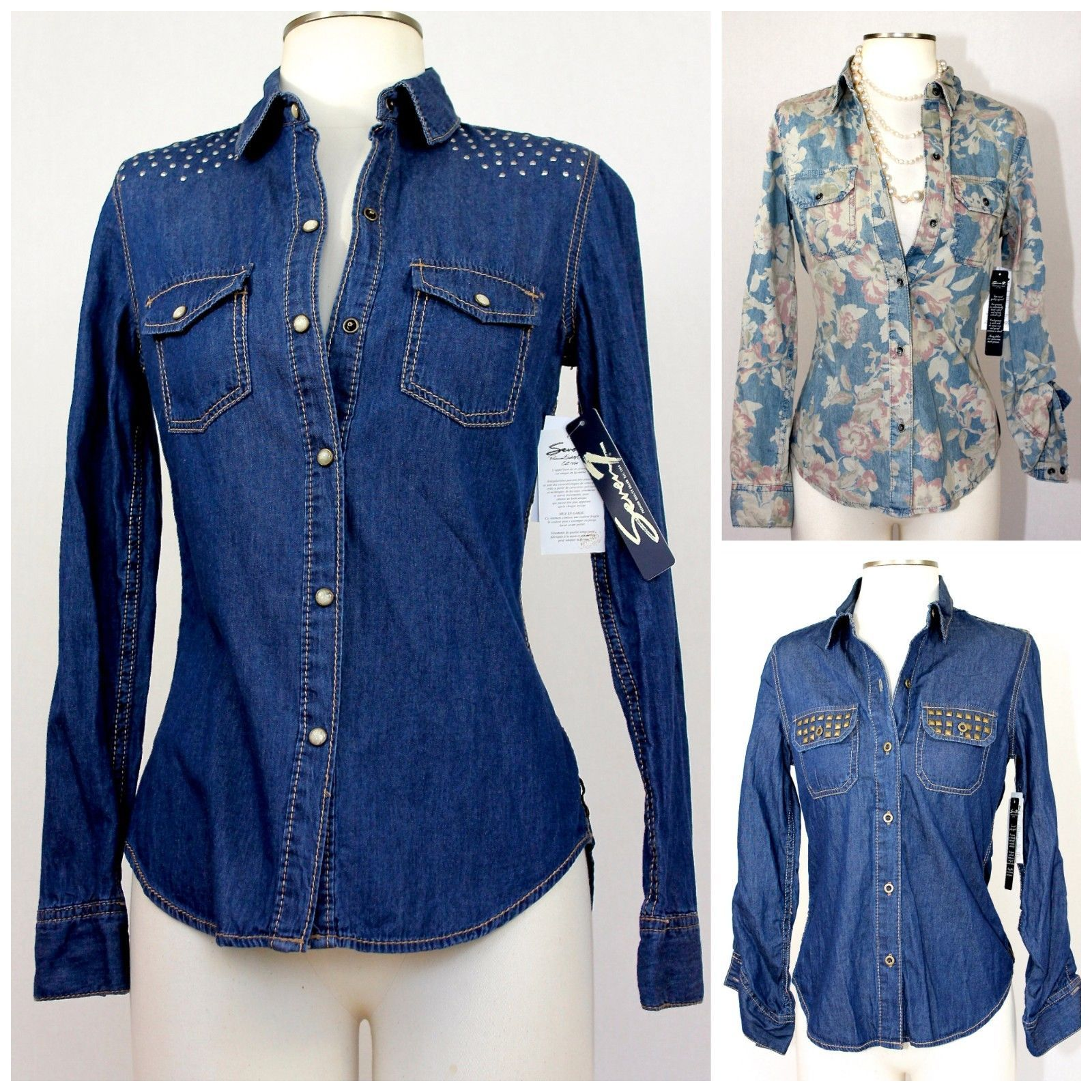 Details About Women S Seven 7 Denim Blue Button Up Shirt