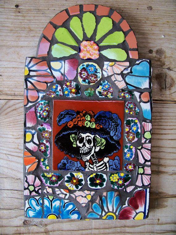 Catrina Day of the Dead Mosaic Retablo Wall by NatalieBacaStudio