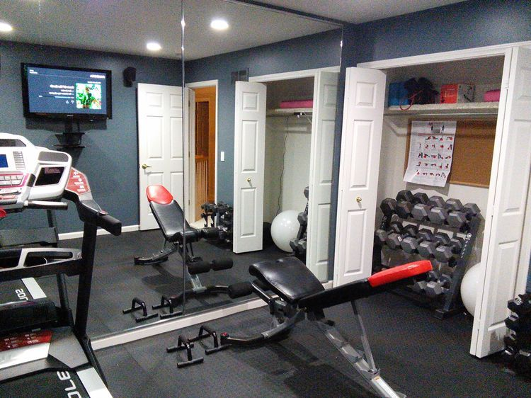 Make Your Home Gym Work In A Small Room Movable Bench Foldable Treadmill Tv Speakers Off Floor Dumbbells Accessories Closet Led Recess Lighting To