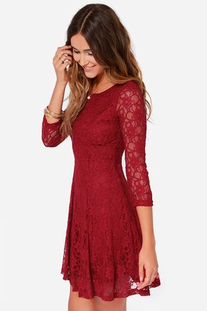 Fine And Dine Wine Red Lace Dress Red Lace Dress Long Sleeve Lace Dress Wine Red Dress