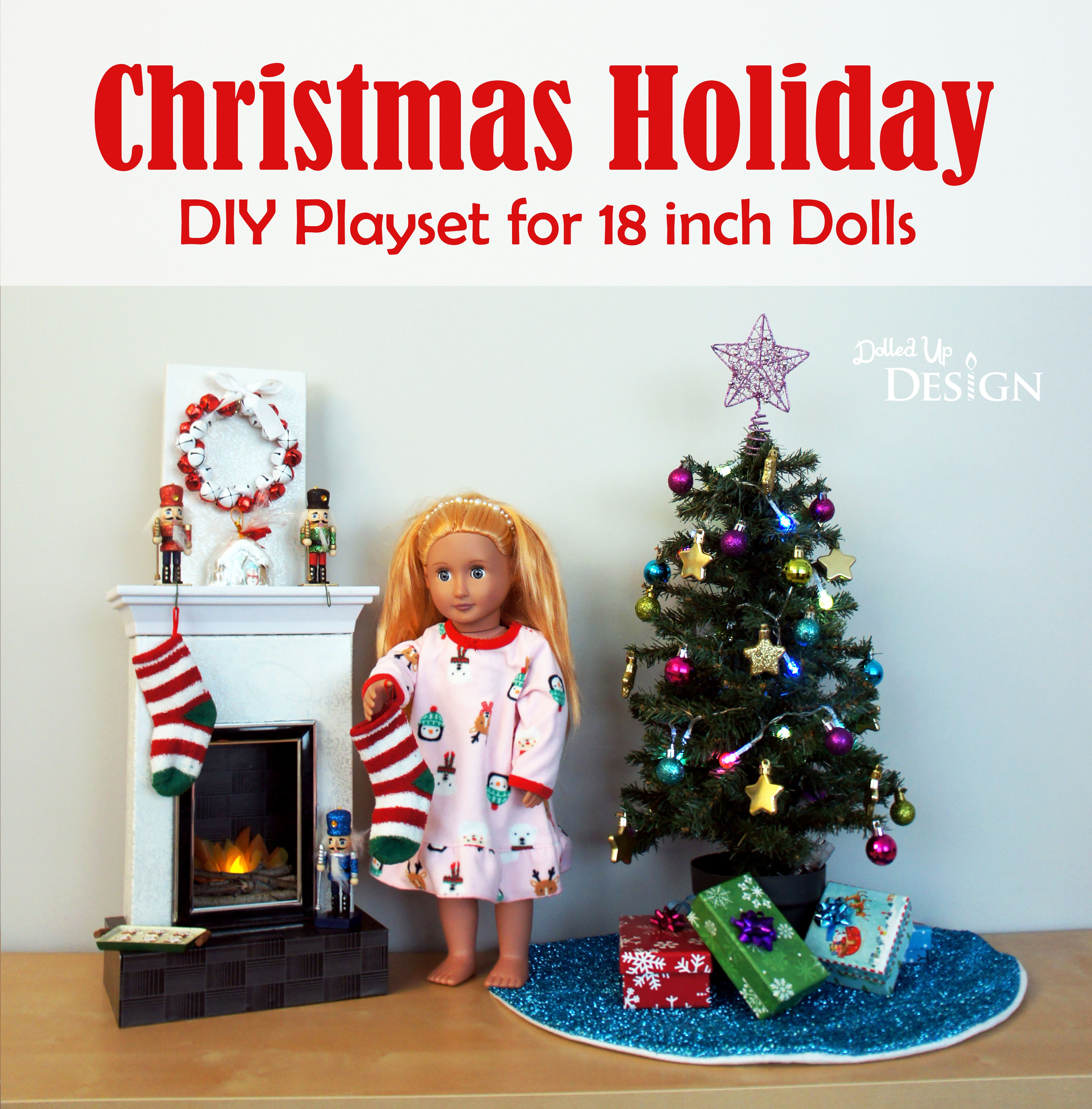 """MY LIFE AS HOLIDAY DECORATIONS PLAYSET 18/"""" Dolls with Light Up Christmas Tree"""