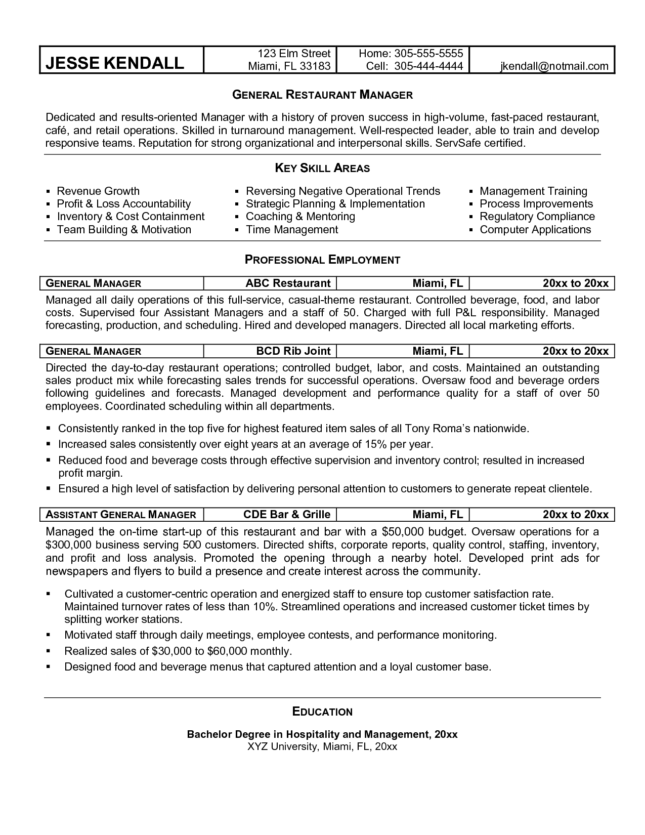 Restaurant Manager Resume Sample General Manager Resume Example  Httpwwwresumecareer