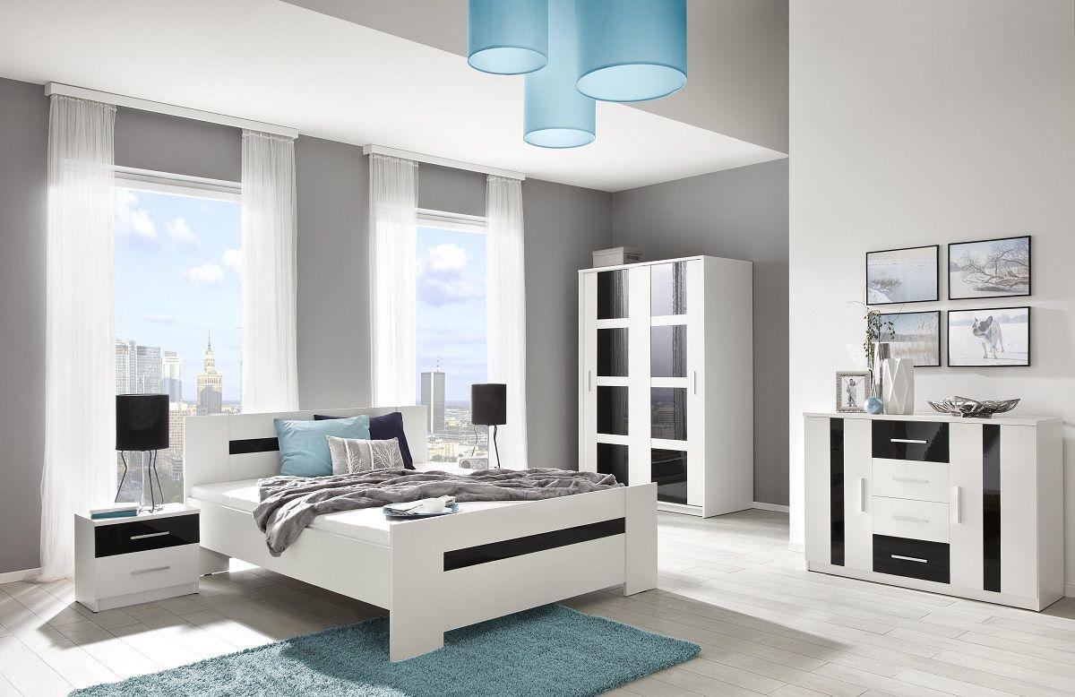 Tweepersoonsbed Hoogglans Wit.Complete Slaapkamerset Presto Uitgevoerd In De Kleurencombinatie Wit