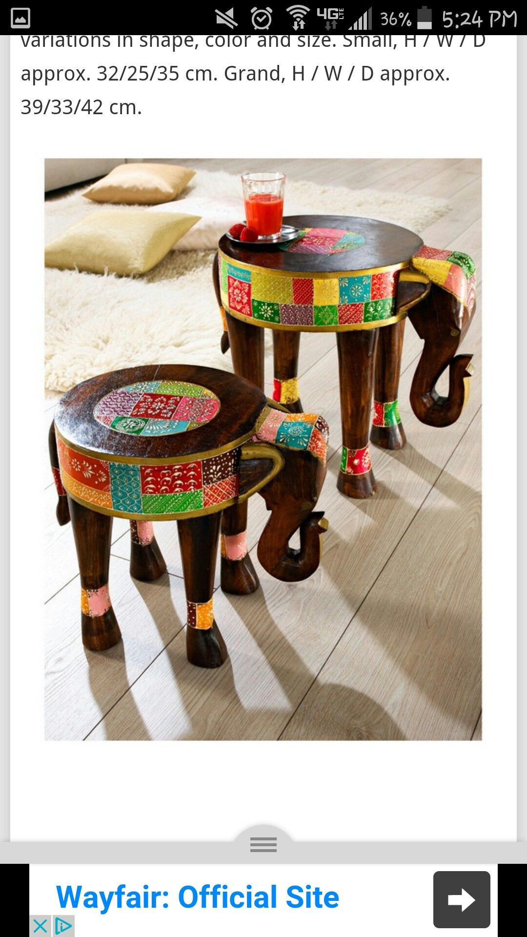 Love love these elephant side tables!!!  Not sure of measurements and how it would work/b utilized but goes so well with Keith and I's love of elephants and w our canvas pic