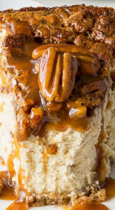 Brown Sugar Pecan Pie Cheesecake #pecanpiecheesecakerecipe