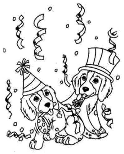 Dog Party Coloring Page | Dog coloring page, Puppy ...