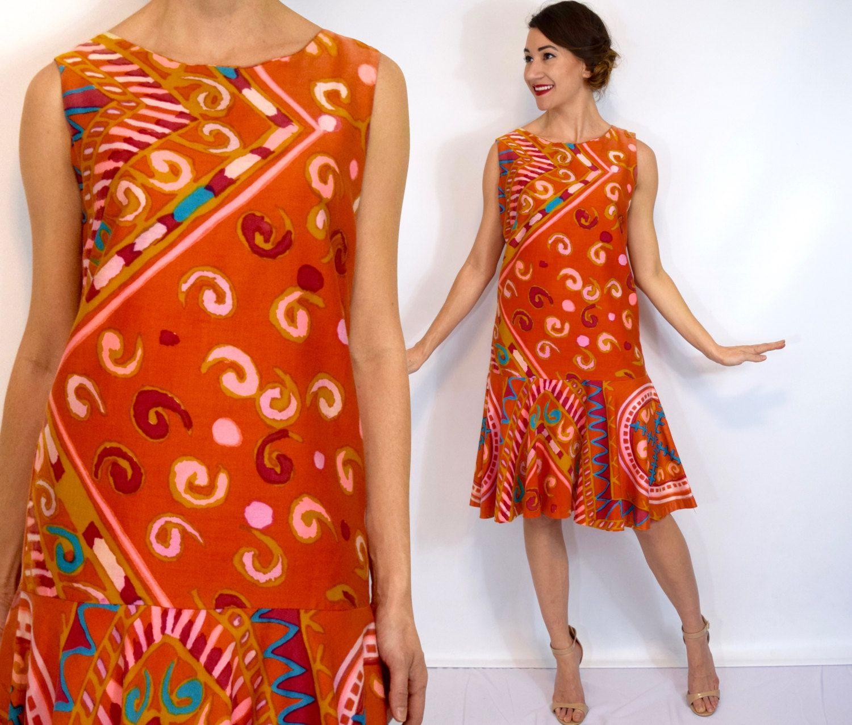 S orange print day dress drop waist party dress colorful print