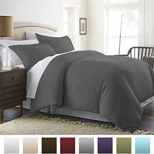 Beckham Hotel Collection Luxury Soft Brushed 1800 Series Microfiber 3 Piece Duvet Cover Set - Full/Queen Gray