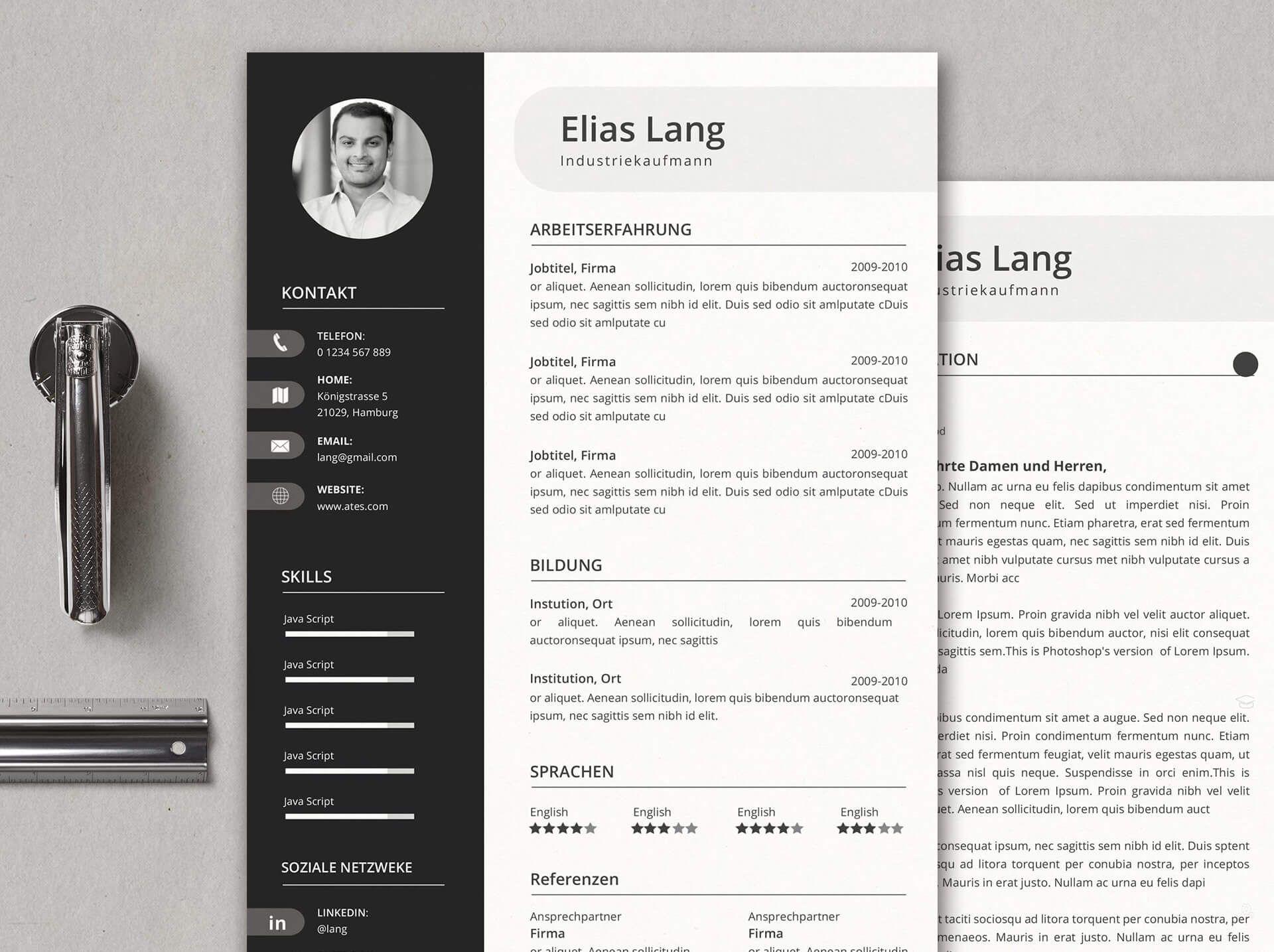 Mr. Lang   kreative Lebenslaufvorlagen, Lebenslaufvorlage und Deckblatt