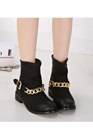 Black Faux Leather Chain Accent Combat Boots