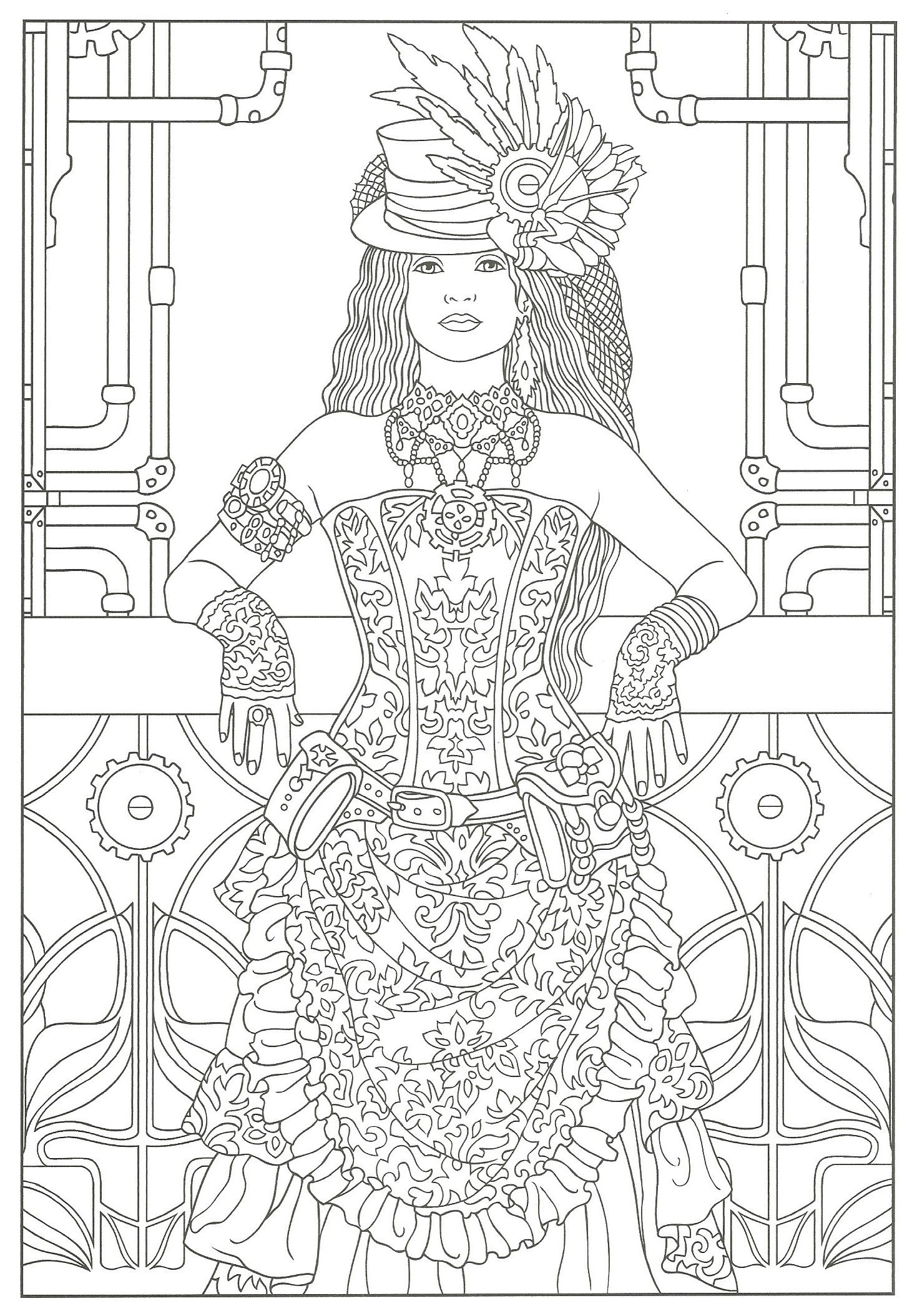 Steampunk Adult Coloring Artwork By Marty Noble Creative Haven Fashions Book