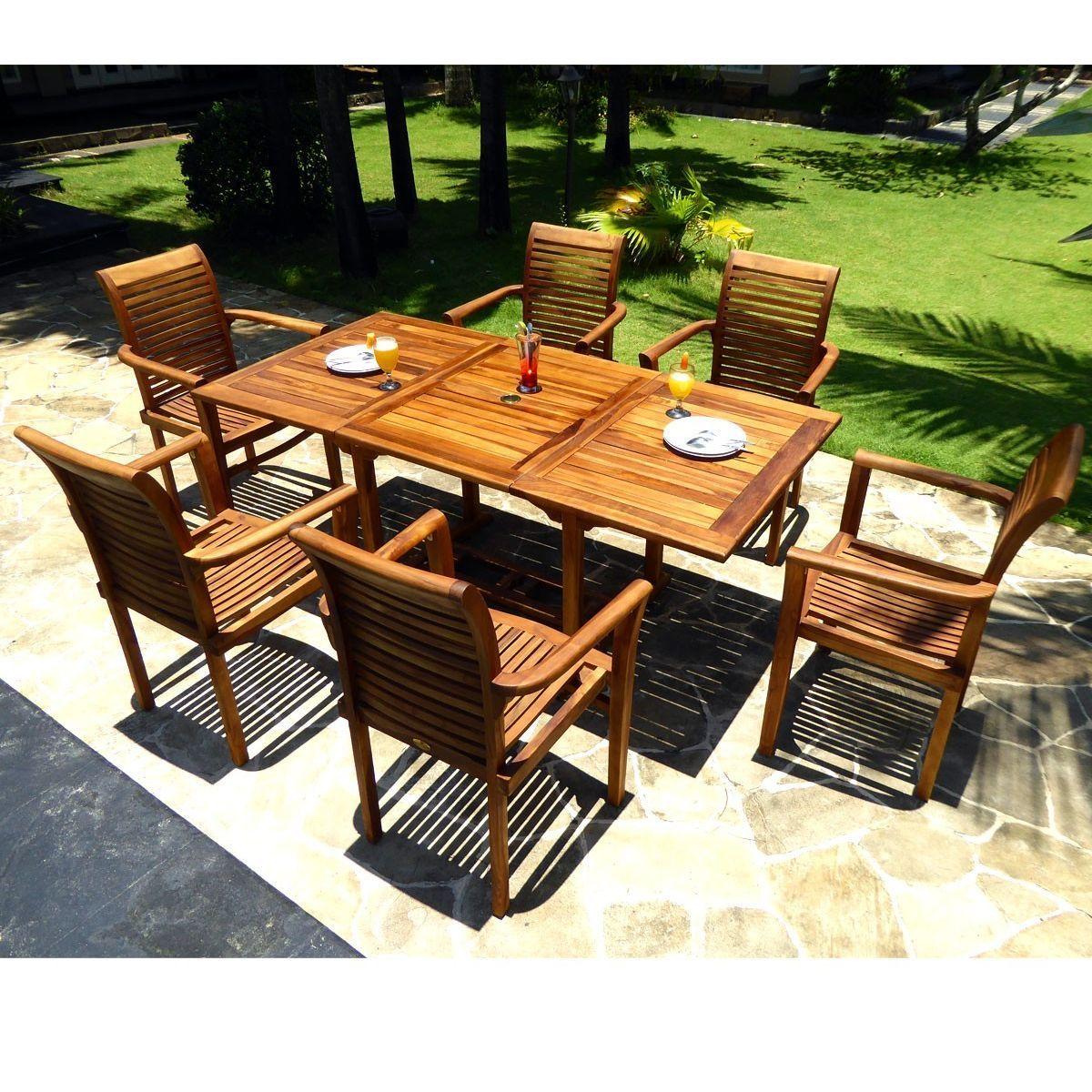 Salon de jardin en teck avec 6 fauteuils empilables ...