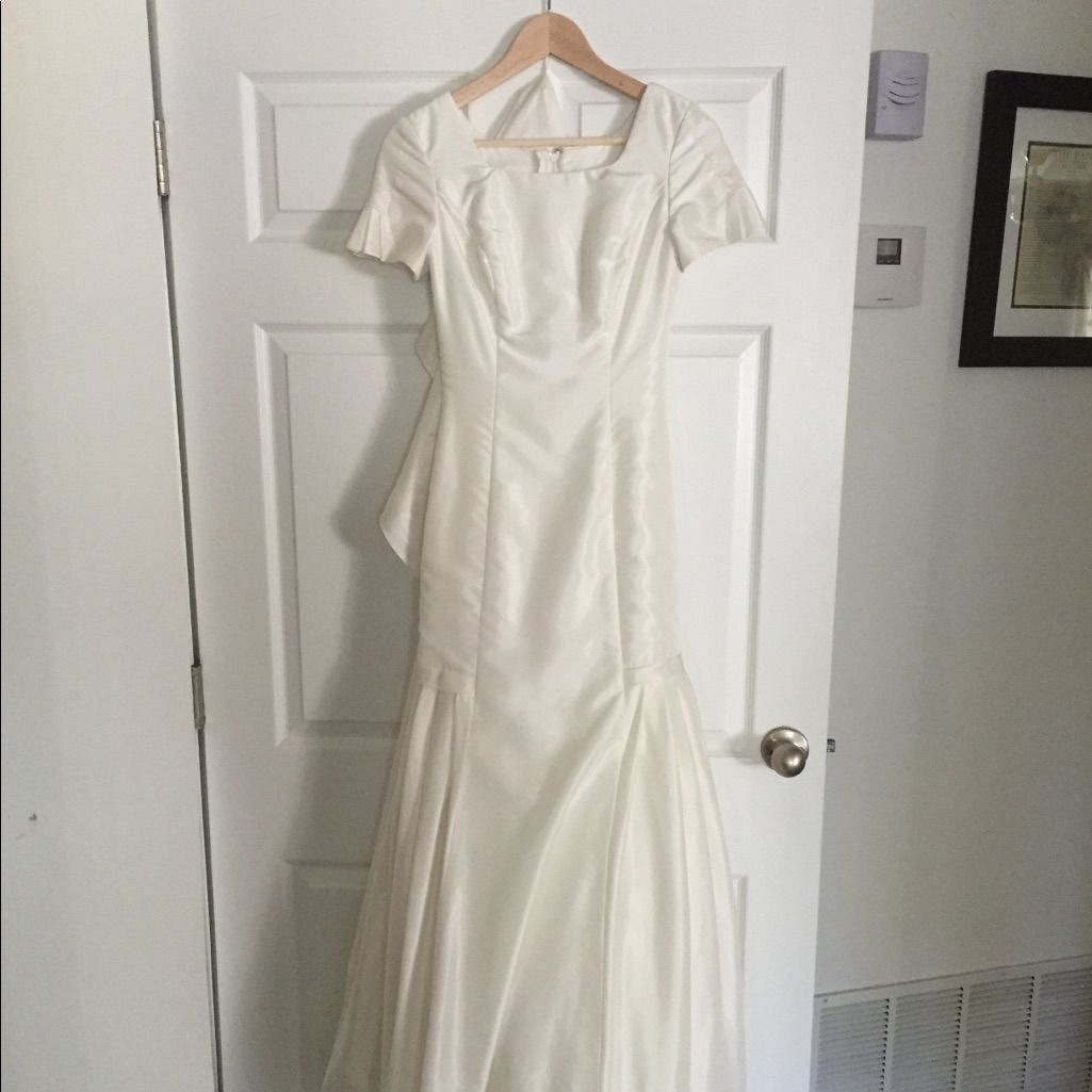 Pleated mermaid off white wedding dress white wedding dresses and