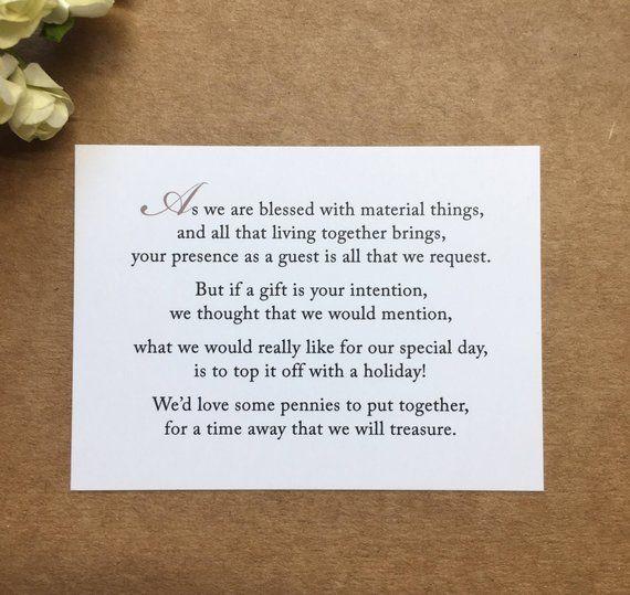 Wedding Gift Poems For Money For Honeymoon: Wedding Invitation Poem For Money Honeymoon Poem Card Gift