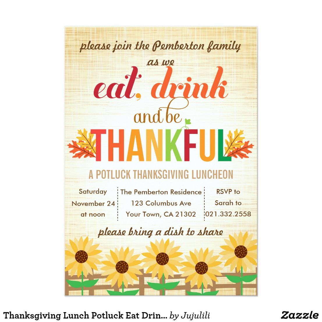 Thanksgiving Lunch Potluck Eat Drink Give Thanks Invitation Zazzle