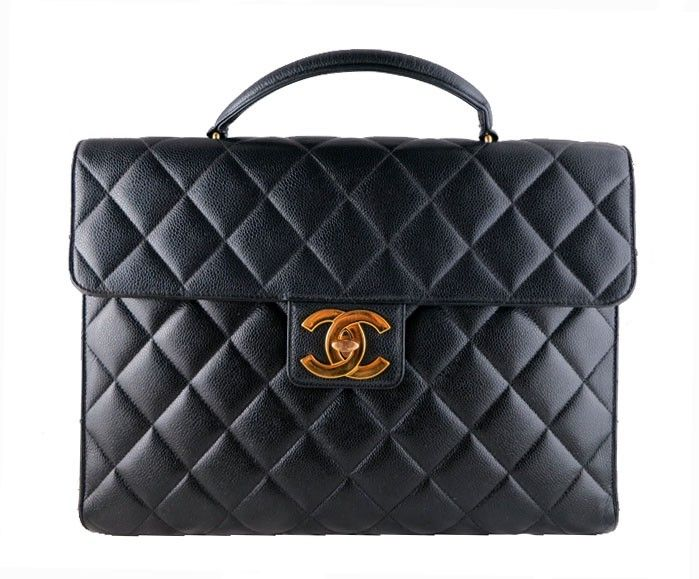 Chanel Jumbo Caviar Black Briefcase Portfolio 2 55 Cc Work Bag