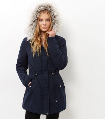 Tall Navy Faux Fur Trim Hooded Parka New Look Invest in this must ...