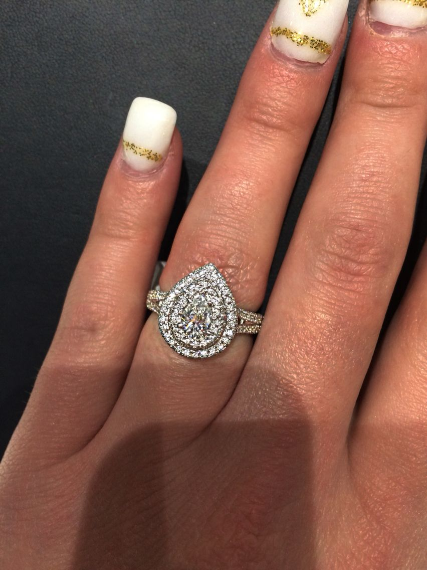 Pear shaped double halo engagement ring from Jareds 050 carat