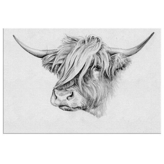 Highland Cow Canvas Cow Wall Art Farm Animal Art Black And White Animal On Canvas Framed Amazing In 2020 Highland Cow Art Highland Cow Painting Cow Art