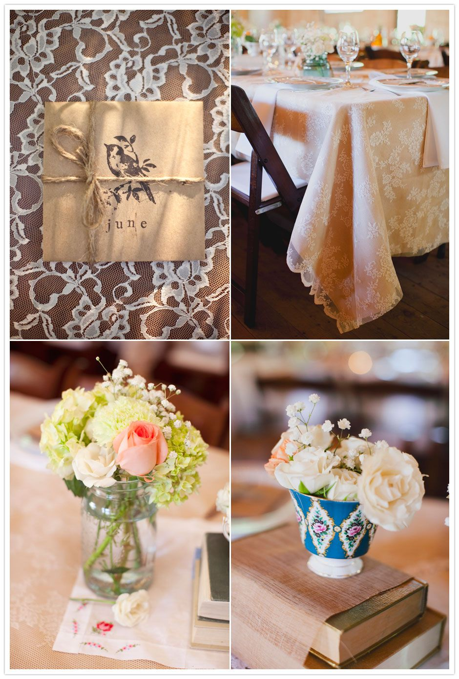 Vintage Inspired Camp Wedding....Lace on Tables, Yes Please!