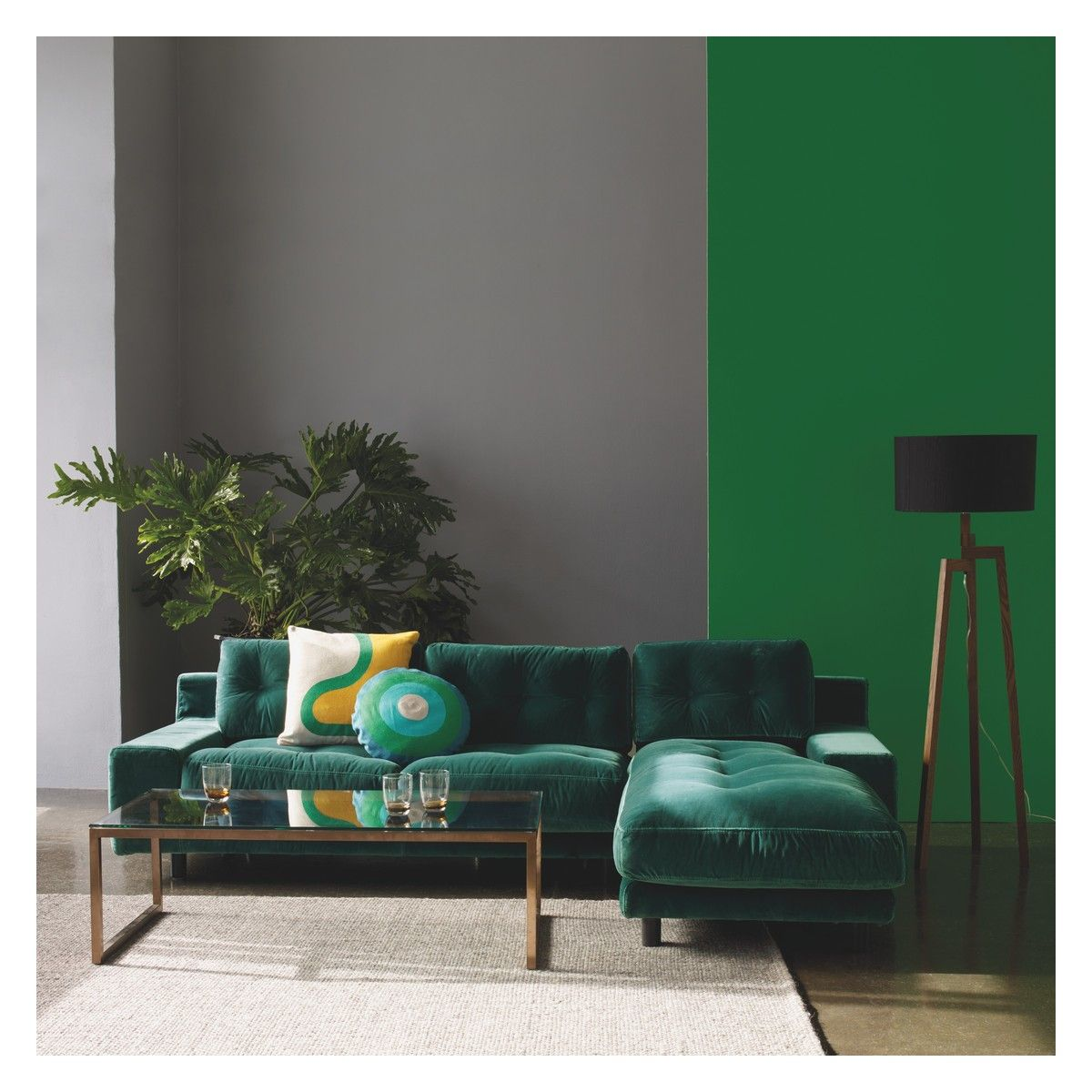 Green velvet sofa uk for Sustainable interior design products