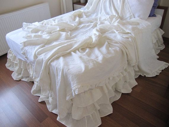 shabby chic ruffle bedding-solid white ivory pink gray linen throw