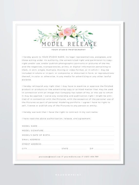 Model Release Form Template - Photography Model Release Form