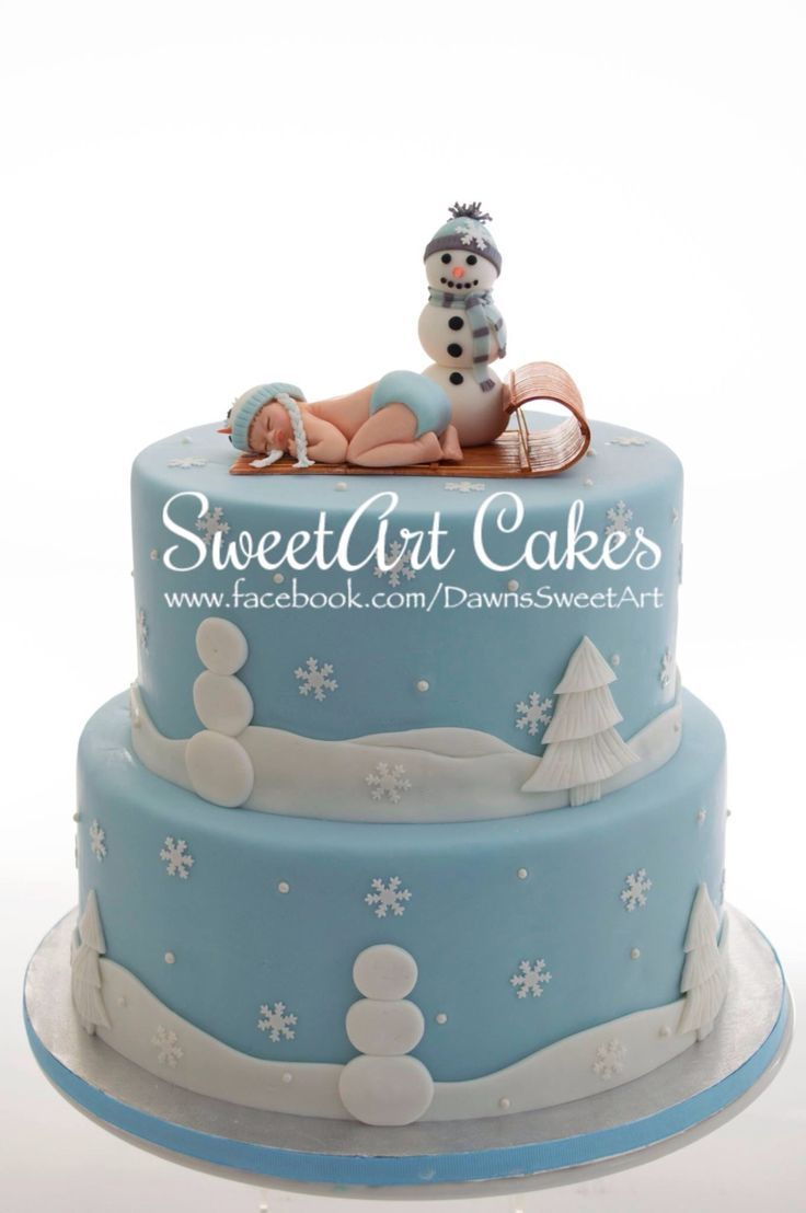 Winter Baby And Snowman Baby Shower Cake By SweetArt Cakes L