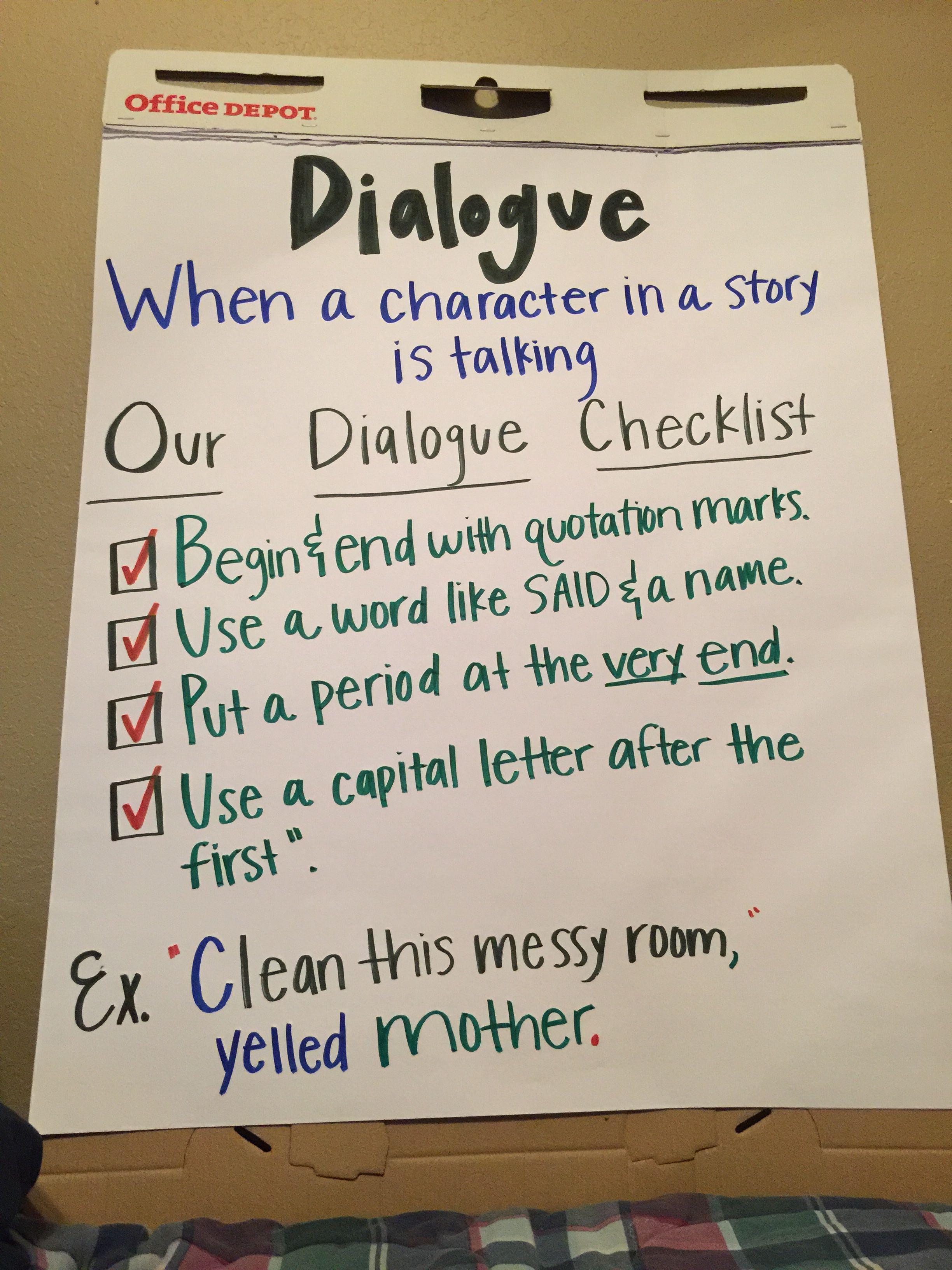 3rd Grade Dialogue Anchor Chart