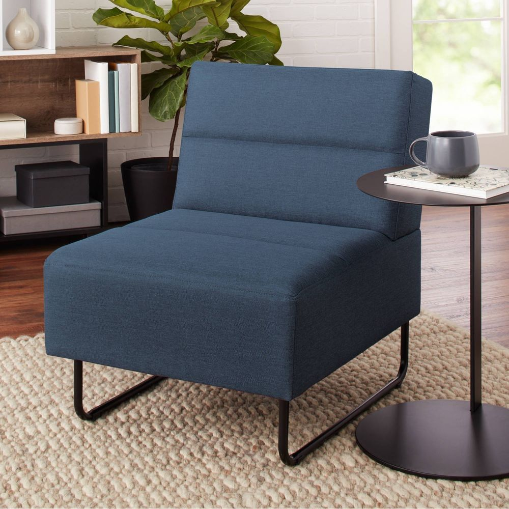 Blue lounge chair faux leather upholstery modern accent