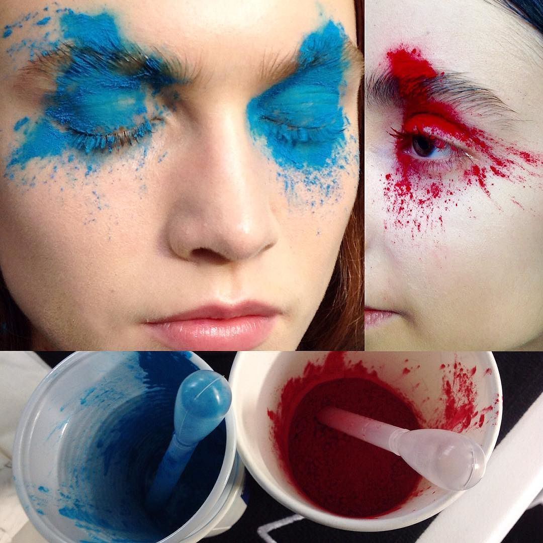 #pigment wars! Applying loose pigments through pipettes creating #color explosion at @afvandevorst. #the look created by @ingegrognard applied by me with @clairemulleady #MACCosmetics #maccosmetics #macbackstage #MACFWArtist #makeup #mac #macpro #lfw #fashionweek by nettart