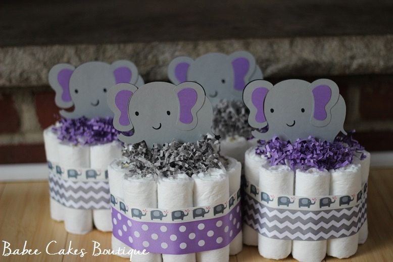 SET OF 4 Mini Purple And Gray Elephant Diaper Cake, Purple Gray Elephant  Baby Shower