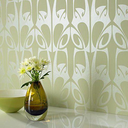 Hula Geometric Wallpaper In Green Sample Co Uk Kitchen Home