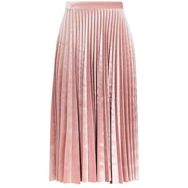 Velvet Pleat Midi Skirt (130 AUD) ❤ liked on Polyvore featuring skirts, calf length skirts, midi skirt, knee length pleated skirt, mid calf skirts and petite midi skirt